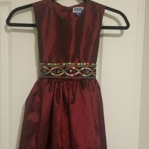 Girls Maroon Fit and Flare dress